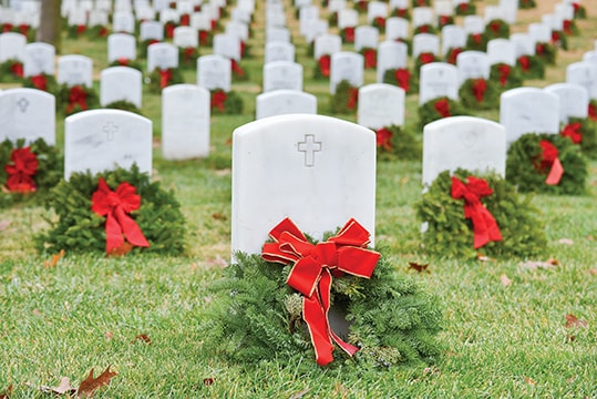 Wreaths on the graves of soldiers
