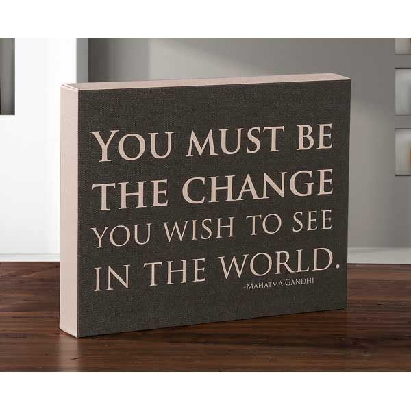 Picture of You Must Be The Change 8x10 Message Cube