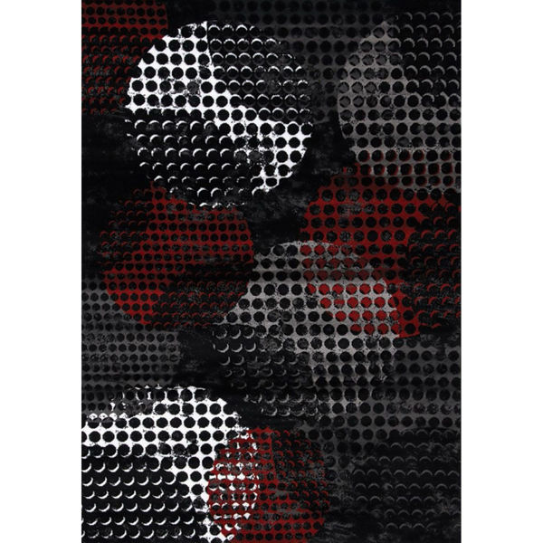 Picture of Digital Spheres Black Grey Red 8x11 Rug
