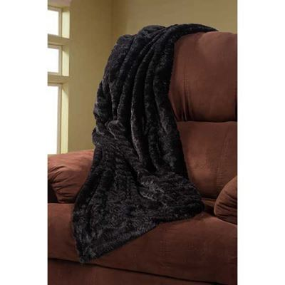 Picture of 47x59 Throw Faux Fur Black *P