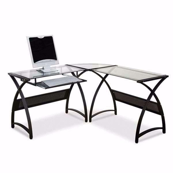 Picture of Black Metal/Glass L-Desk