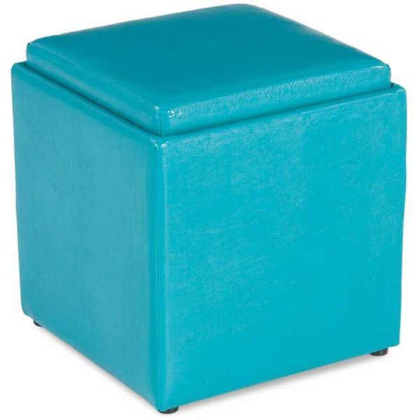 Picture of Blocks Teal Storage Ottoman with Tray