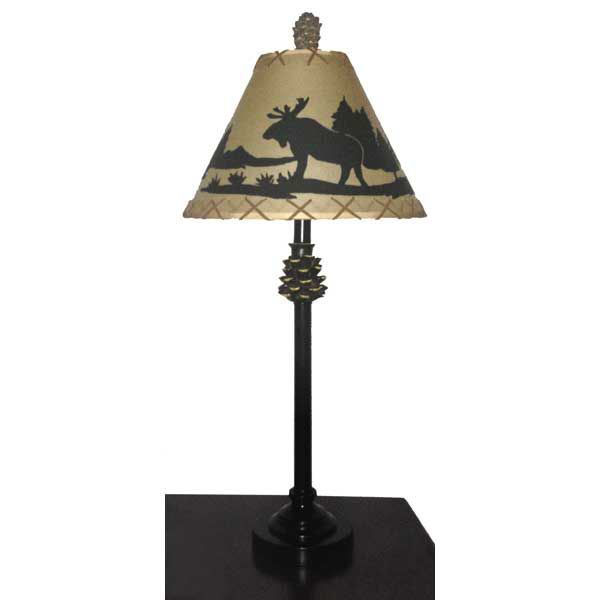 """Picture of 30"""" Pine Cone Moose Table Lamp"""