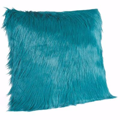 """Picture of Boho 18x18"""" Teal Faux Fur Pillow *P"""