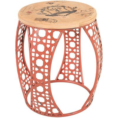 Picture of Red Metal Accent Table