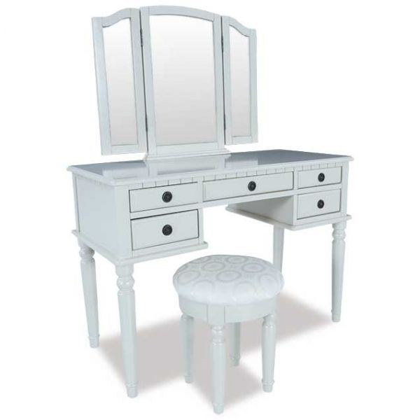 Picture of White 3 Piece Vanity Set with Mirror and Stool