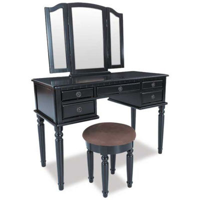 Picture of Black 3 Piece Vanity Set with Mirror and Stool