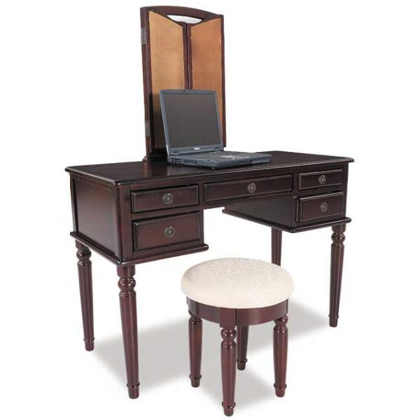 Picture of Cherry 3 Piece Vanity Set with Mirror and Stool