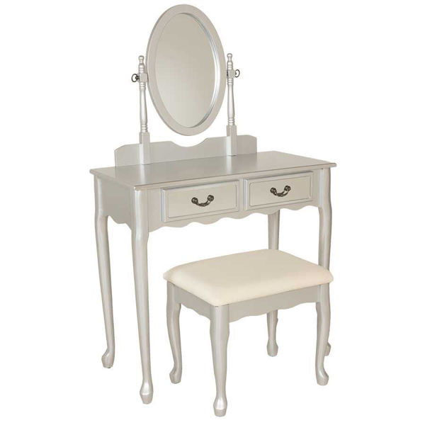 Picture of 3 Piece Silver Vanity Set with Mirror and Bench
