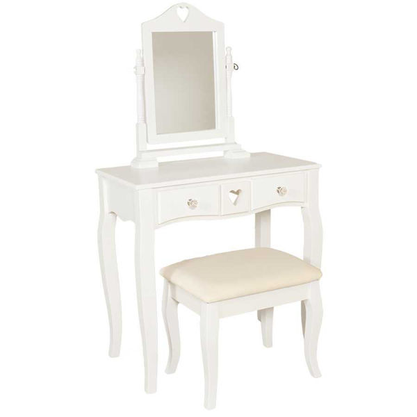 Picture of Small 3 Piece White Vanity Set with Mirror and Bench