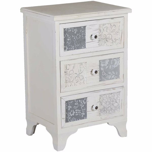 Picture of Stamped Insert 3-Drawer Accent Chest