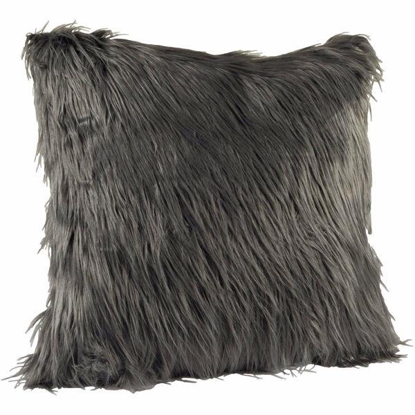 Picture of Boho Dark Gray Faux Fur Pillow *P