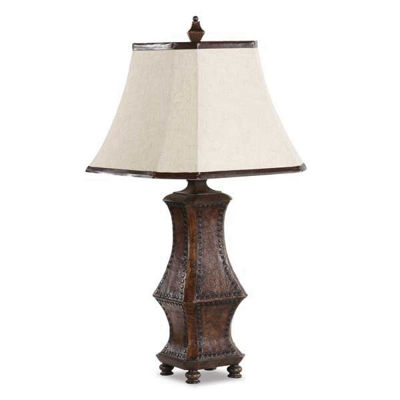 Picture of Leather Table Lamp W/Bell Shade