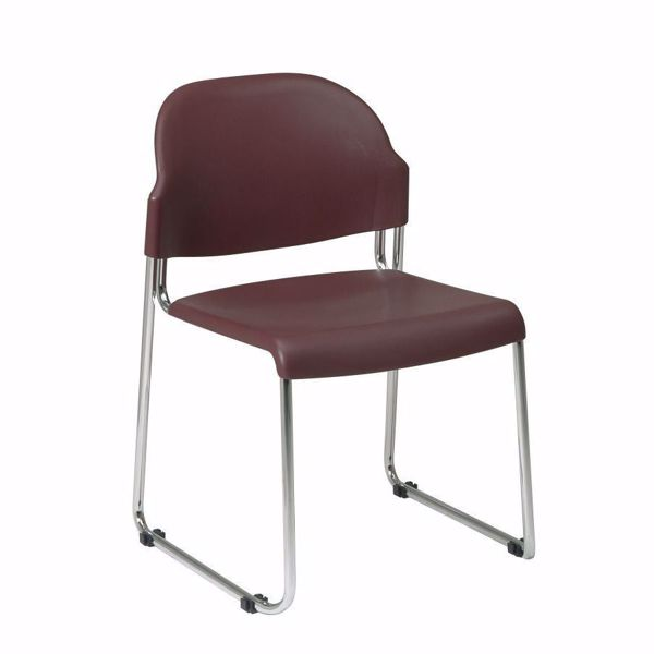 Picture of Burgundy Plastic Stacking Chair, 4-Pack *D