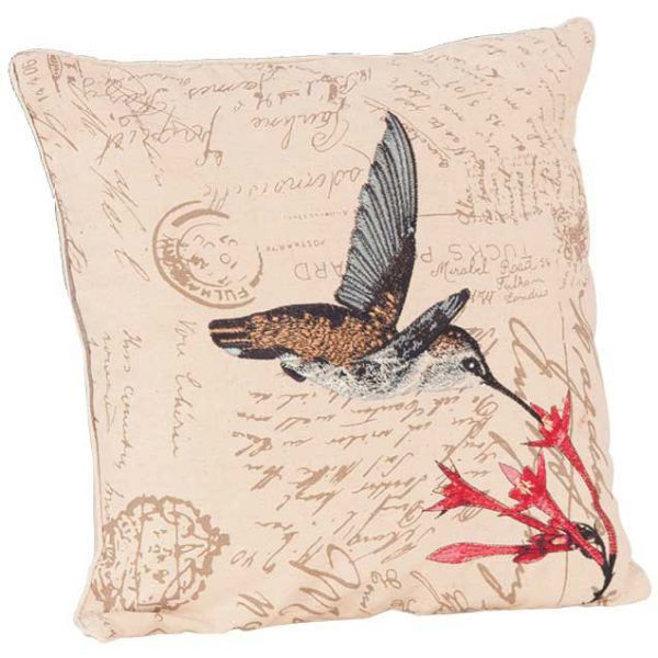 Picture of 18X18 Script Blue Humming Bird Pillow *P