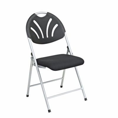 Picture of Black Fan Back Fabric Seat Folding Chair, 4-Pack *D