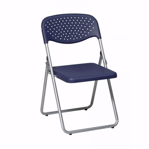 Picture of Blue Plastic Seat and Back Folding Chair, 4-Pack *D