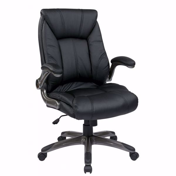 Picture of Black Faux Leather Mid Back Managers Office Chair *D