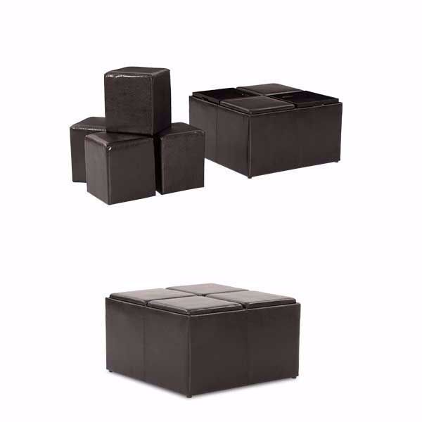 Picture of Black Cocktail Ottoman with Trays