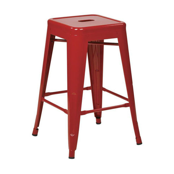 Picture of 30-Inch Mtl Red Backless Stool, 2-Pack *D