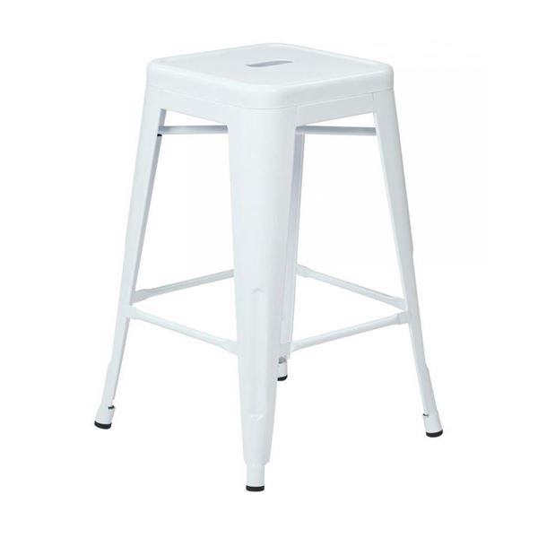 Picture of 24-Inch Mtl Backless White Stool, 2-Pack *D