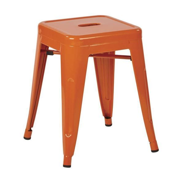 Picture of 18-Inch Mtl Backless Orange Stool, 2-Pack *D