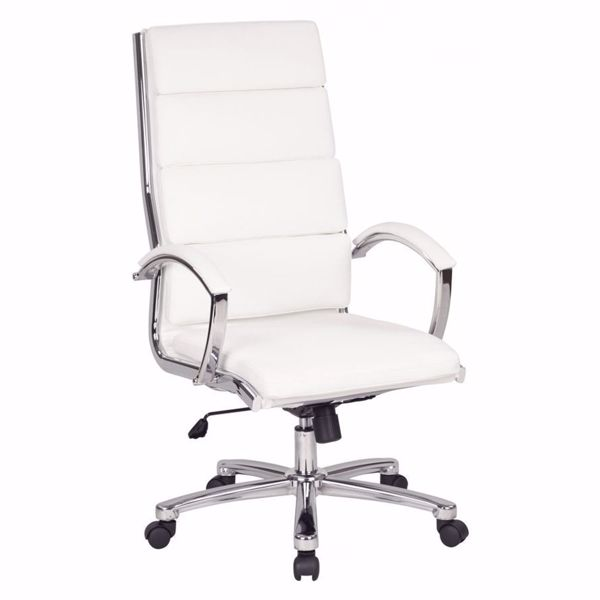 Picture of High Back Exec White Faux Leather Chair FL5380C-U11 *D