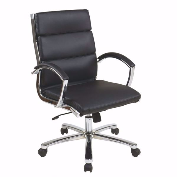 Picture of Mid Back Exec Black Faux Leather Chair *D