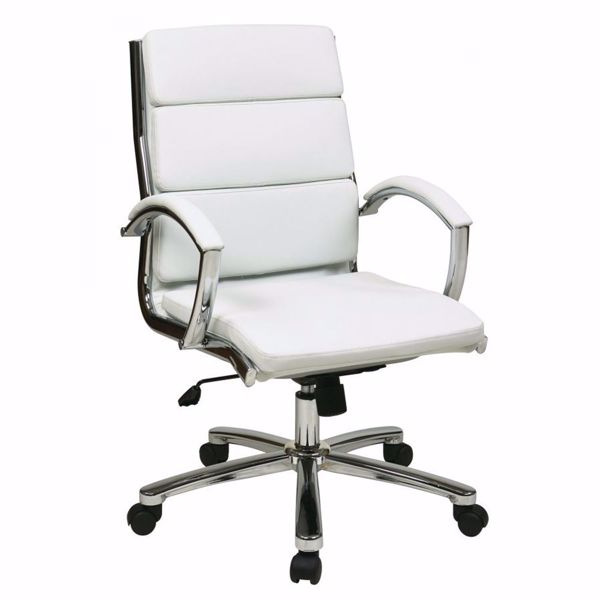 Picture of Mid Back Exec White Faux Leather Chair *D
