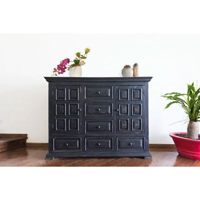 Picture of Black Isabella 6-Drawer Door Dresser