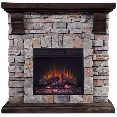 Picture of Pioneer Stone Fireplace with Insert