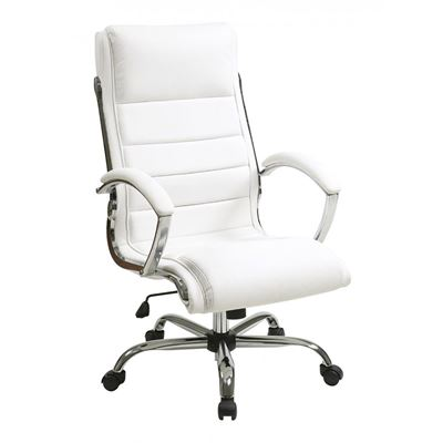 Picture of White faux leather thick padded Exec Chair *D
