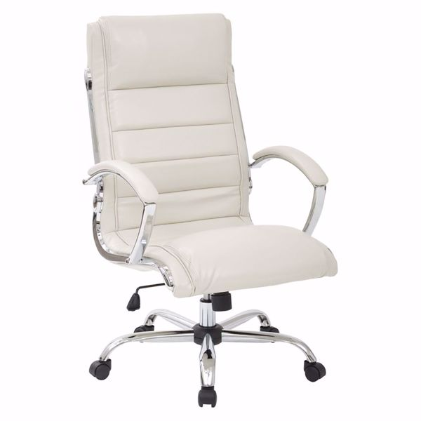 Picture of Cream faux leather thick padded Exec Chair *D