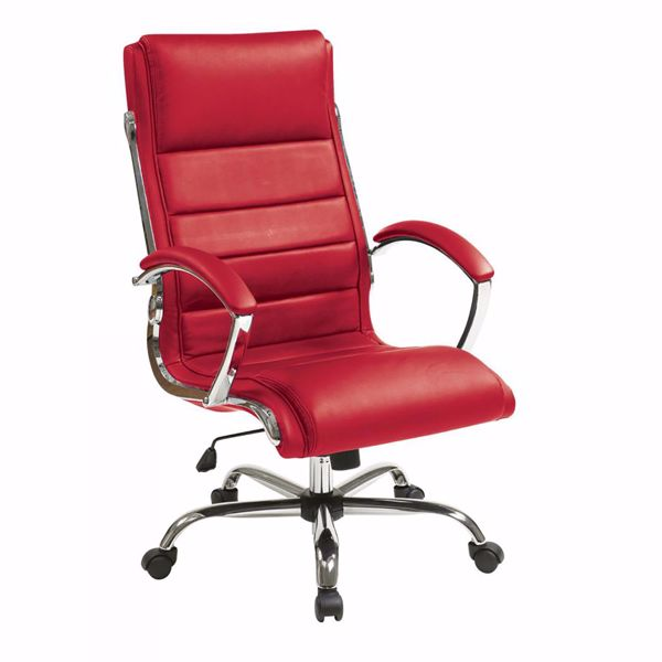 Picture of Red faux leather thick padded Exec Chair *D