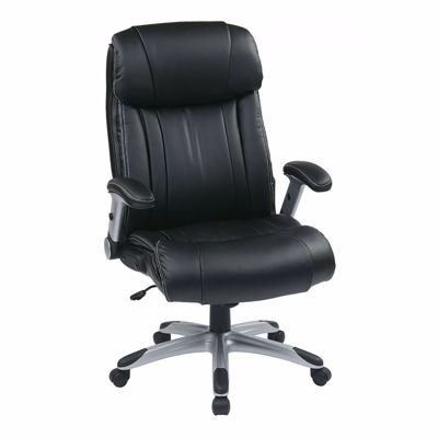 Picture of Exec Black Bonded Leather Chair Silver Accents *D