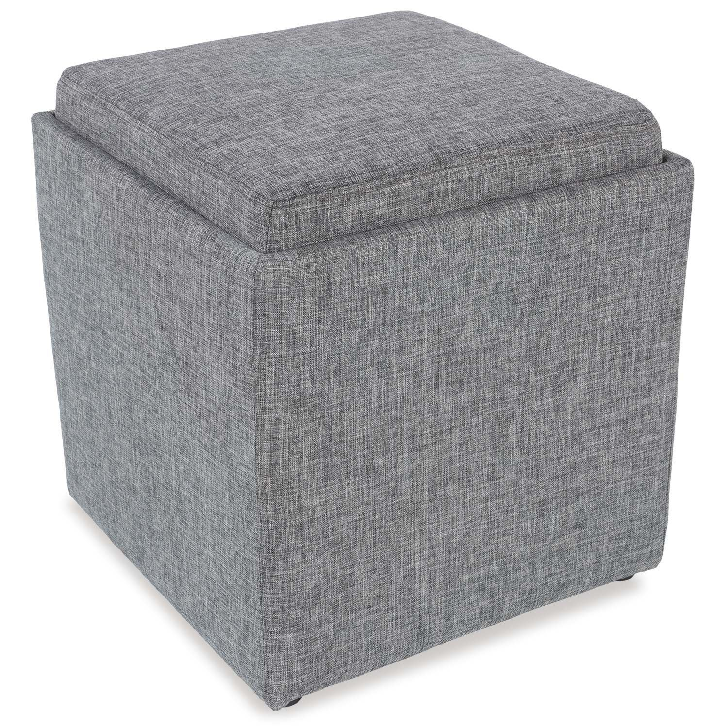 Picture of Gray Storage Ottoman with Tray
