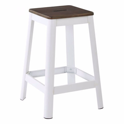 Picture of Hammond 26in Dark WD Mtl Frosted White Barstool *D