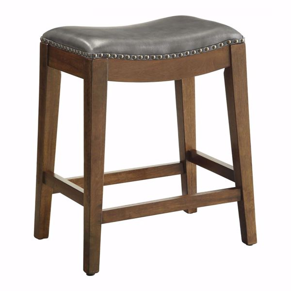 Picture of Pewter Nail Head 24-Inch Saddle Stool *D