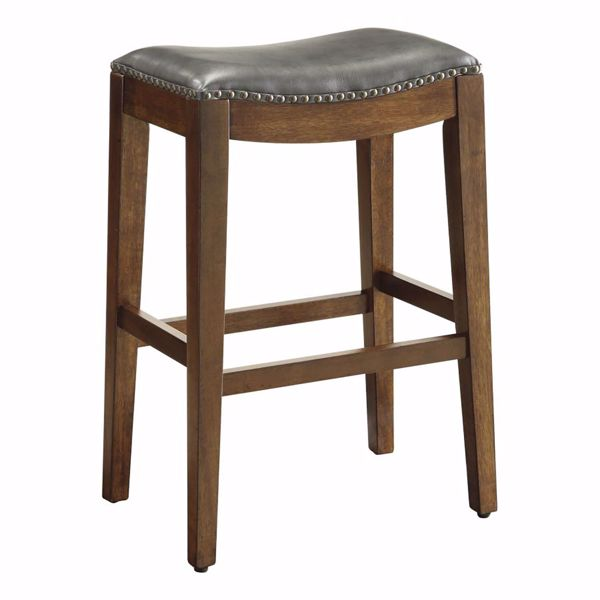 Picture of Pewter Nail Head 29In Saddle Stool *D
