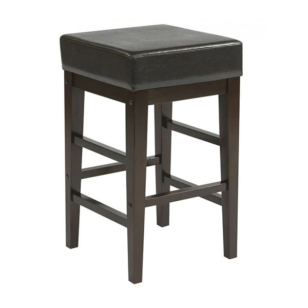 Picture of 25-Inch Squareuare Espresso Faux Leather Barstool *D