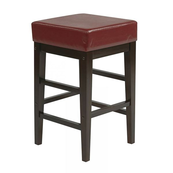 Picture of 25-Inch Squareuare Red Faux Leather Barstool *D