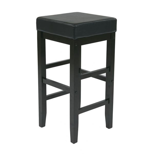 Picture of 30-Inch Squareuare Black Faux Leather Barstool *D
