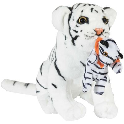 "Picture of 12"" White Tiger with Baby"