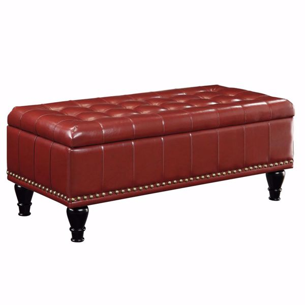 Picture of Red Bonded Leather Storage Ottoman *D