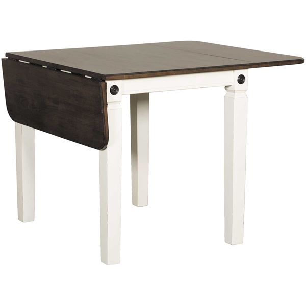 Picture of Glennwood Two-Tone Drop Leaf Dining Table in White/Charcoal