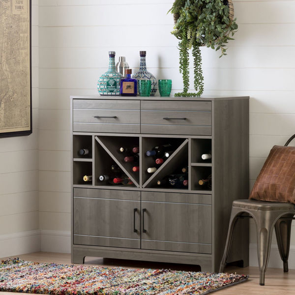 Picture of Vietti Bar Cabinet with Bottle Storage and Drawers