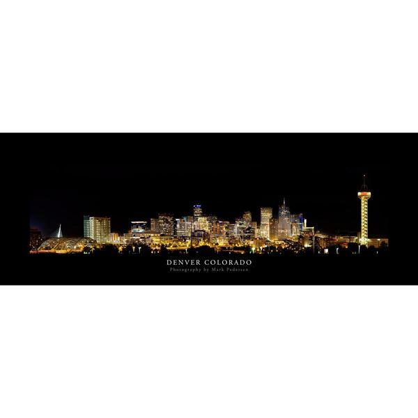 Denver Colorado Night Skyline 60x20