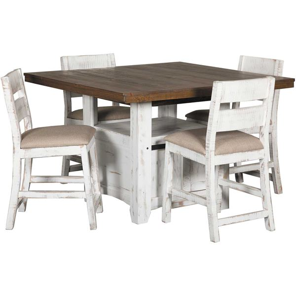 Picture of Pueblo White Counter Height 5 Piece Set
