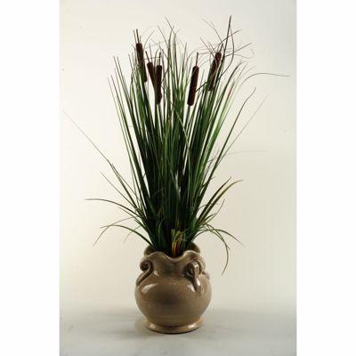 Picture of Onion Grass In Scalloped Ceramic Pot