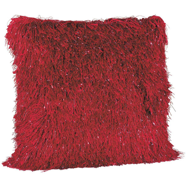 Picture of 20X20-Pillow Sparkle Shag Red